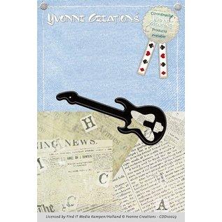 Yvonne Creations Stempling og prægning stencil, Guitar