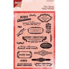 Joy!Crafts / Hobby Solutions Dies Joy Crafts, timbre transparent, texte anglais pour Noël