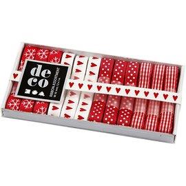 DEKOBAND / RIBBONS / RUBANS ... Coleção da fita, W: 10 mm, vermelho / branco, harmonia, 12x1 m