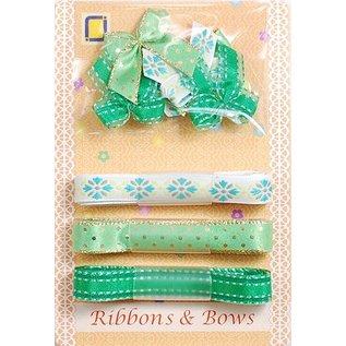 DEKOBAND / RIBBONS / RUBANS ... Indsamling: Ribbon og Typ slibning grønne toner,