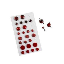 Embellishments / Verzierungen Brads, Sortiment, D: 8-13 mm, rottöne, 28 sortiert