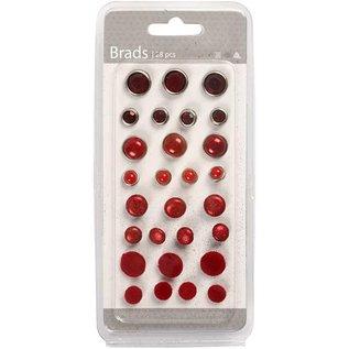 Embellishments / Verzierungen Brads sortiment, D: 8-13 mm, røde, rangeret 28