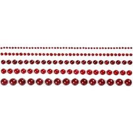 Embellishments / Verzierungen Halv-perler, størrelse 2-8 mm, rød, rangeret 140