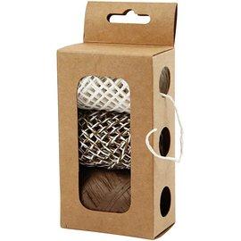 DEKOBAND / RIBBONS / RUBANS ... Papierschnur, beige/braun-harmony, 3x10 m
