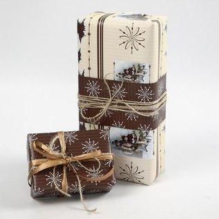 DEKOBAND / RIBBONS / RUBANS ... Streng papir, beige / brun harmoni, 3x10 m