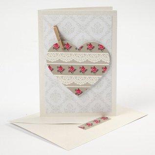 KARTEN und Zubehör / Cards 10 parelmoer kaarten en enveloppen, karton grootte 10,5x15 cm, crème