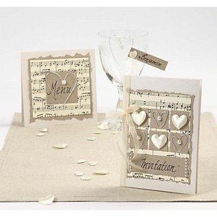 KARTEN und Zubehör / Cards 10 mère de cartes de perles et des enveloppes, format carte 10,5x15 cm, crème