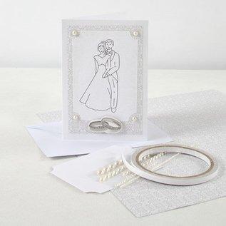 KARTEN und Zubehör / Cards 10 Perlmuttkarten und Umschläge, Kartengröße 10,5x15 cm, creme