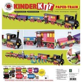 Kinder Bastelsets / Kids Craft Kits Kit Train Artesanato, uma locomotiva, carro 6, deco e família gnome