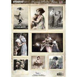 Vintage, Nostalgia und Shabby Shic Folha de corte A4 - imagem romântica