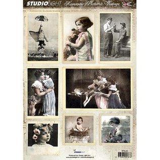 Vintage, Nostalgia und Shabby Shic A4 opskæring ark - romantisk billede