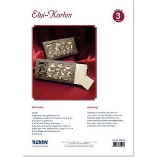 BASTELSETS / CRAFT KITS Bastelpackung für 3 edele Etuikarten mit Anleitung