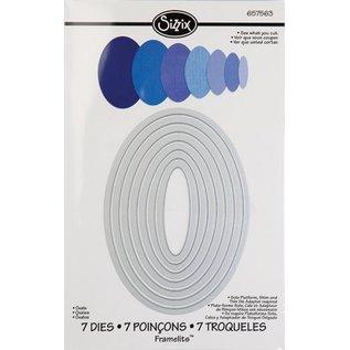 Sizzix Framelits Set mit 7 Schablonen, Ovale Rahmen