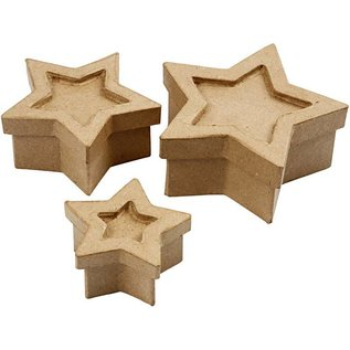 Objekten zum Dekorieren / objects for decorating 3 boxes in star shape, size 15x15x6 cm largest