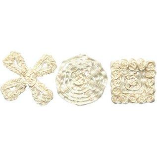 Embellishments / Verzierungen Sorted satin ornaments, size 35-40 mm, cream, 6