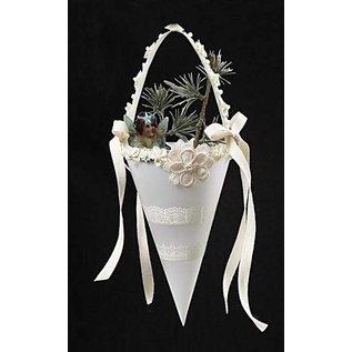 Embellishments / Verzierungen Naargelang satijnen versieringen, grootte 35-40 mm, room, 6