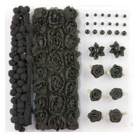 DEKOBAND / RIBBONS / RUBANS ... Poms & Flores - Enfeite, pompons e flores conjunto preto