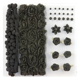 DEKOBAND / RIBBONS / RUBANS ... Poms & Flowers - Embellishment, pom poms and flowers set black