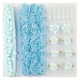 DEKOBAND / RIBBONS / RUBANS ... Poms & Blomster - Udsmykning, pom poms og blomster sæt lyseblå