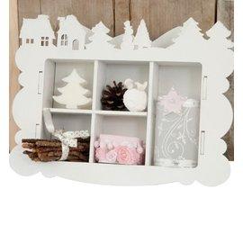 Objekten zum Dekorieren / objects for decorating Artigianato Kit MDF, scatola di raccolta, decorazione Inverno