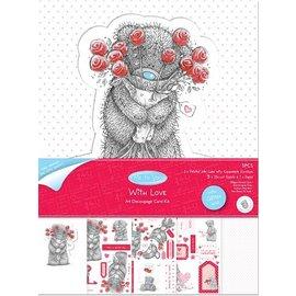 """Me to You Craft Kit til A4 Glitter kort fra mig til dig """"Med Love"""""""