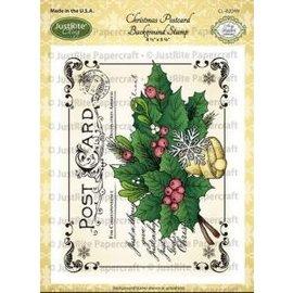 JUSTRITE AUS AMERIKA Natal Justrite Cartão Postal Cling fundo Stamp