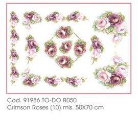 DECOUPAGE AND ACCESSOIRES 50x70cm papel Soft - Roses carmesí