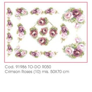 DECOUPAGE AND ACCESSOIRES Soft-Paper 50x70cm - Crimson Roses
