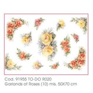 DECOUPAGE AND ACCESSOIRES Papier doux 50x70cm - guirlandes de roses