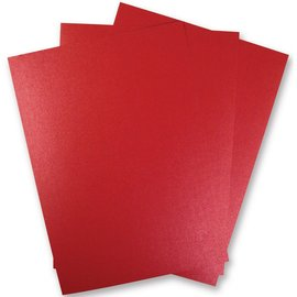 DESIGNER BLÖCKE / DESIGNER PAPER 5 Bogen Metallic Karton, Extra KLASSE, in brilliant rot farbe!