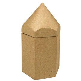 Objekten zum Dekorieren / objects for decorating Recipientes de papel mache hexágono, lápis, 9x8x16 cm