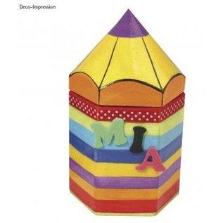 Objekten zum Dekorieren / objects for decorating Pappmaché-Sechseck-Behälter, Bleistift, 9x8x16 cm