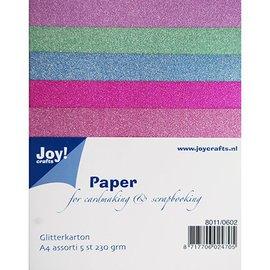 DESIGNER BLÖCKE / DESIGNER PAPER 5 Glitterkarton in 5 verschiedenen Farben