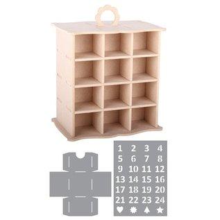Objekten zum Dekorieren / objects for decorating 3D Schränkel Adventkalender + 2 Stencils