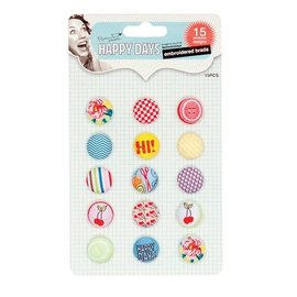 Embellishments / Verzierungen Bestickte Brads, Happy Days