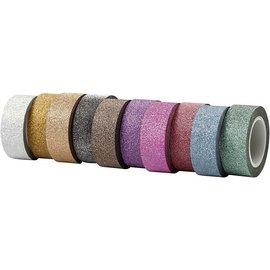 DEKOBAND / RIBBONS / RUBANS ... Selvklæbende tape med glitter overflade