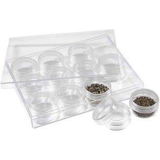 BASTELZUBEHÖR, WERKZEUG UND AUFBEWAHRUNG Jars acrylique avec bouchon à vis, ensemble de 12 boîtes