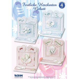BASTELSETS / CRAFT KITS Set di materiale per 4 Festive Cards Cuore Nascita
