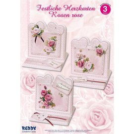 BASTELSETS / CRAFT KITS Materiale fissato per 4 carte di cuore festive rose rosa