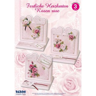 BASTELSETS / CRAFT KITS Materiale sæt for 4 Festive hjerte kort rosa roser