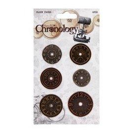 Embellishments / Verzierungen Uhren aus Metall, 6 Stück, Chronology