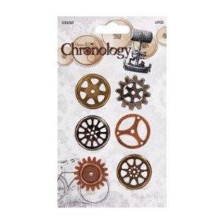 Embellishments / Verzierungen Räderchen, 6 Stück,Chronologie