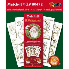 imagens pré-impresso e etiquetas em relevo, para 8 Natal 3D cartões