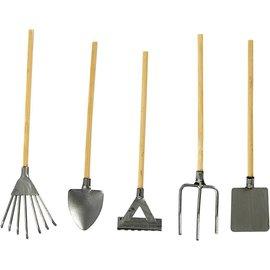Embellishments / Verzierungen ferramentas de jardim mini, 11 cm + Mini-rega, H: 30 mm