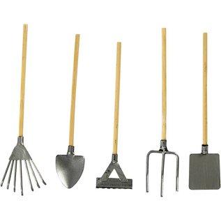 Embellishments / Verzierungen Mini garden tools, 11 cm + Mini-watering, H: 30 mm