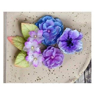 Prima Marketing und Petaloo Prima Marketing, Blumen mit Blätter, 9 Stück, lilla