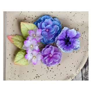 Prima Marketing und Petaloo Prima Marketing, flowers with leaves, 9 pieces, lilla