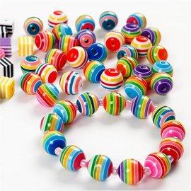 Sæt med 20 farverige perler med stribemønster