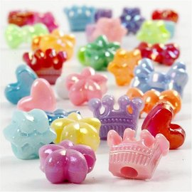 Kinder Bastelsets / Kids Craft Kits Set von 20 Perlen Figurenmix, D: 10 mm, sortierte Farben