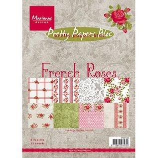 DESIGNER BLÖCKE / DESIGNER PAPER Smukke Papers, A5, franske Roses, 32 ark, 4 x 8 motiver